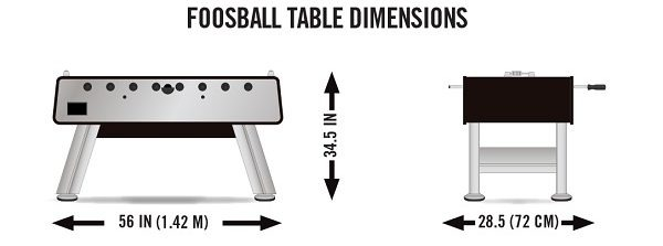 Superb Foosball Table Dimensions Front