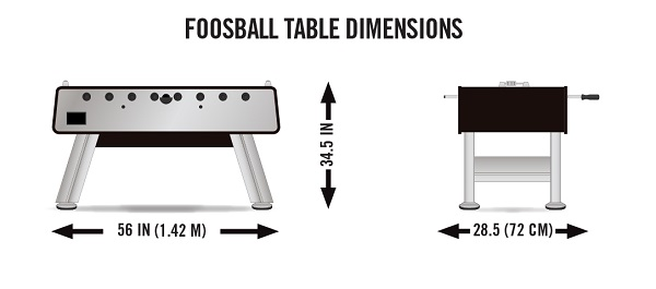 foosball table dimensions front