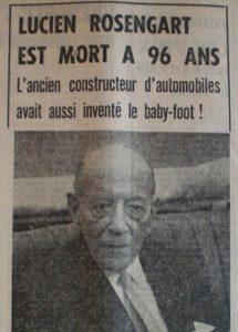 Lucien Rosengart Who invented foosball