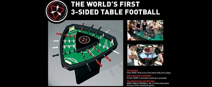 Coca-Cola 3-sided foosball table