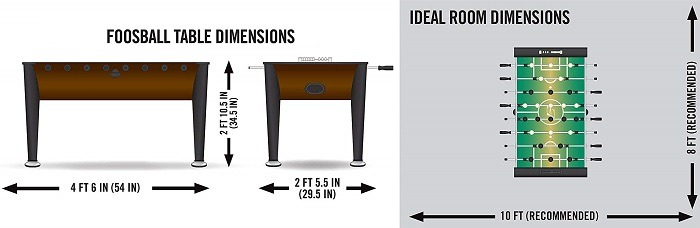 Official Regulation Full Size 56 Foosball Table Dimensions